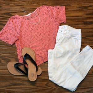 WHBM white skinny jeans